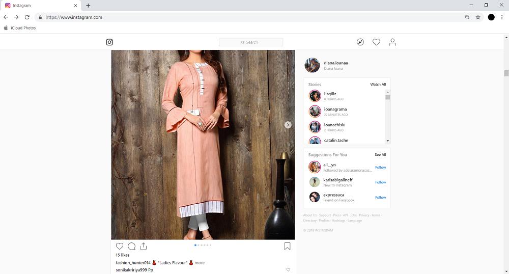 instagram pe desktop