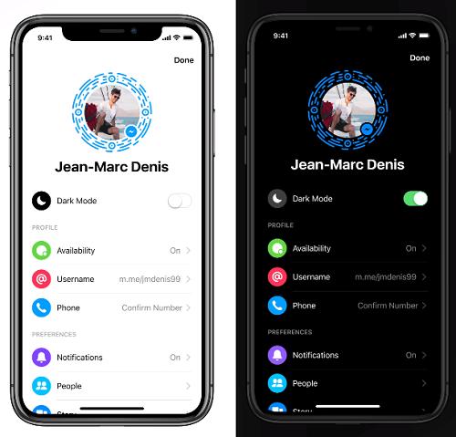 activare dark mode facebook messenger 2