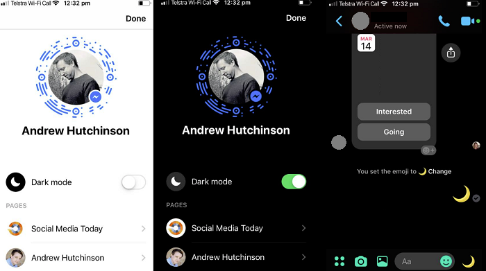 activare dark mode facebook messenger